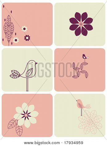 Vector Bird and Flower (Graphic set)