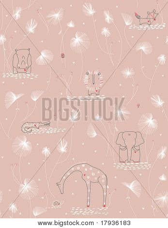 Vector seamless pattern displaying cute baby jungle animals.