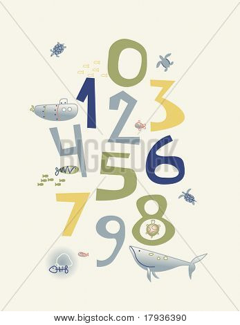 Vector nursery poster displaying numbers and little baby sea animals.