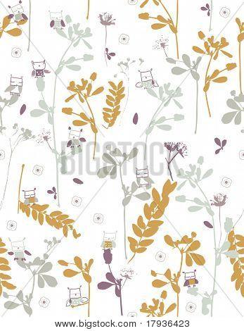 Vektor seamless Pattern anzeigen retro Vögel und Blumen.