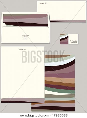 Personal stationery in standard dimensions containing lined envelope letterhead and business card.