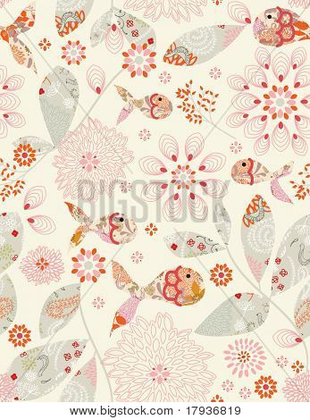 Vector seamless pattern displaying vintage intricate fish and floral design.