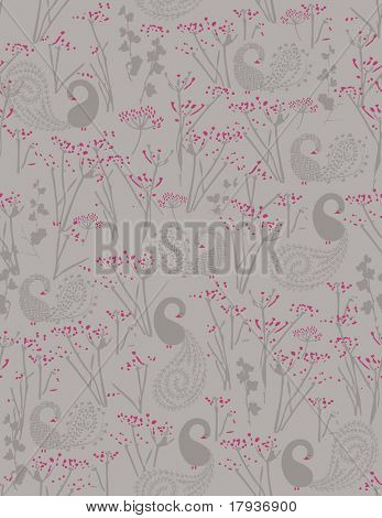 Vector seamless pattern displaying swan and cow parsley.