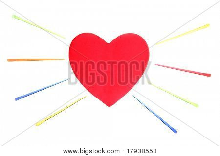 Valentines red heart with color pins isolated on white