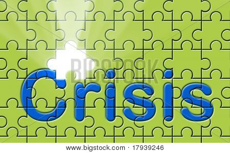 Crisis text written on a puzzle background with missing piece