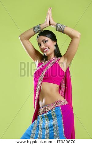 Brunette indian dancer princess Bollywood style, colorful sari