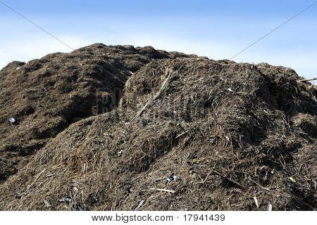 Compost montaña grande al aire libre de reciclaje ecológico industria entorno fertilizante