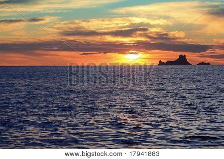 ibiza sunset Es Vedra from Formentera balearic Islands