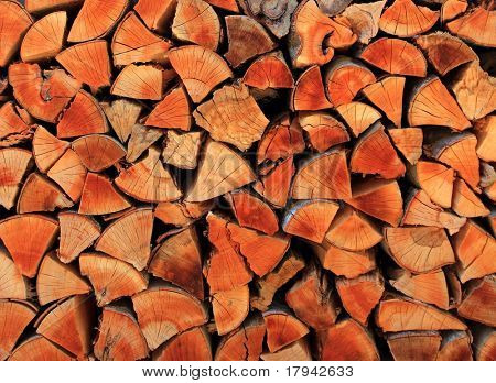 firewood wood pile stacked triangle shape red color