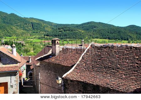 Hecho Valley Pyrenees village roof and mountains Aragon Huesca Spain