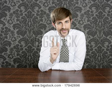 businessman retro on office table salesperson vintage wallpaper