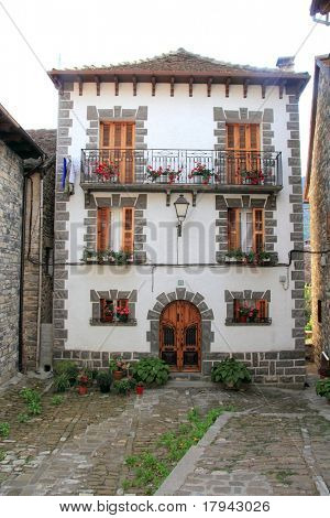 Pyrenees stone houses in Anso valley Huesca Aragon spain