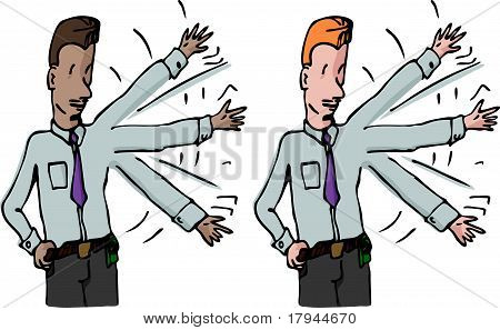 Businessman Waves His Arm