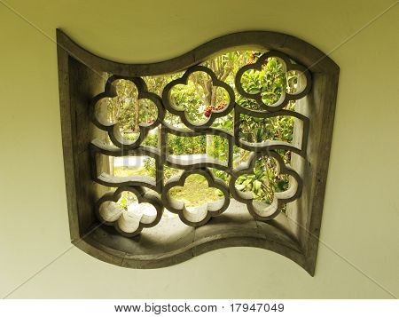 rhomboid Chinese courtyard window