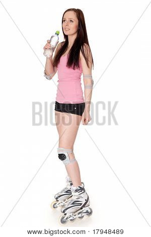 The Beautiful Young Woman In Rollerskates.