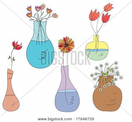 Collection of vases with flowers