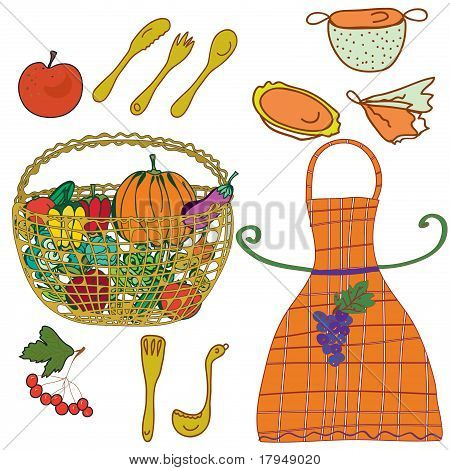 Kitchen set with crockery and vegetables