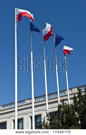 Polish And EU Flags