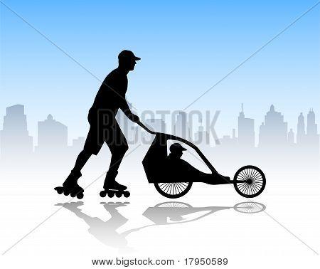 rollerskater pushing stroller