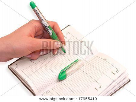 Hand Using Green Marker