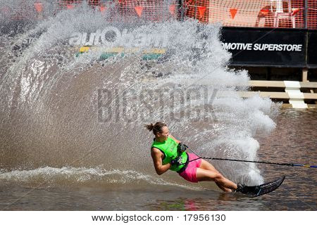 MELBOURNE, AUSTRALIA - MARCH 14: Vanessa Leopold participates in the slalom event at the Moomba Masters on March 14, 2011 in Melbourne, Australia