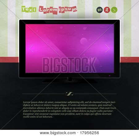 TV against the wall with wallpaper. Website Template