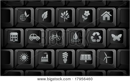 Environment Icons on Black Computer Keyboard Buttons Original Illustration