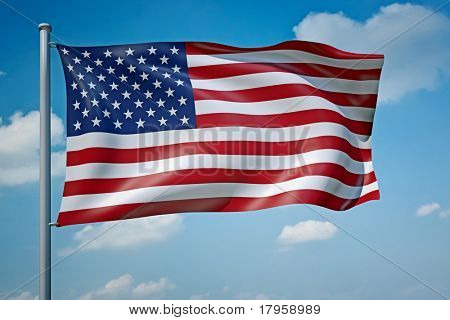 An image of the United States of America flag in the blue sky