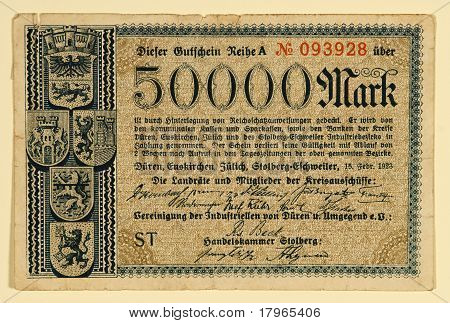 Antique 1923 German 50000 Mark