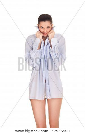 Woman In Big Man's Shirt