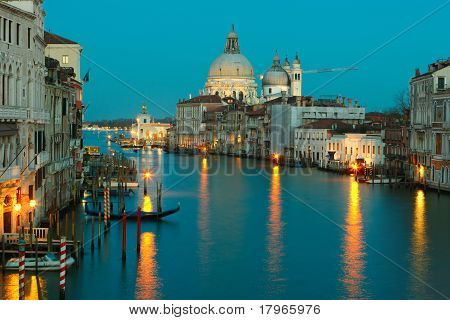 Grand Canal And Salute At Dusk, Venice