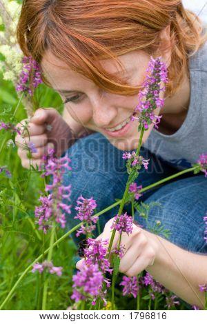 Girl Looking On Bumblebee