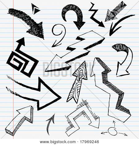 Hand Drawn Arrow Set. Vector elements.