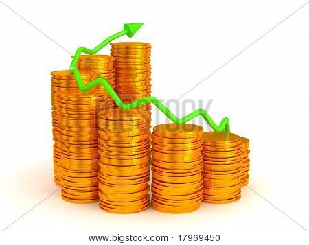 Green Graph Over Golden Coins Stacks