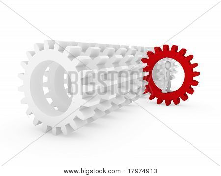 3D Human Red Gear