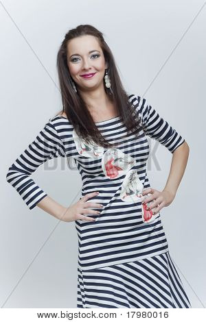 Fashion Beautiful Girl In Stripes Clothes