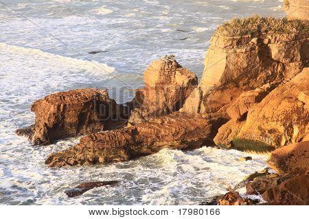 Coastal Line Canyon At West Coast Of New Zealand