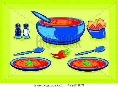 Big cooking pot and a plate with soup
