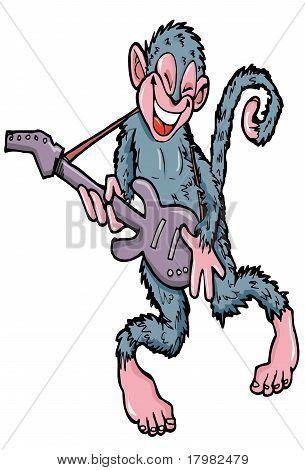 Cartoon Monkey Playing Guitar