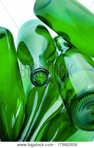 Green Bottles Of Glass