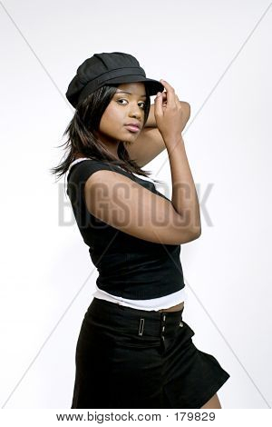 Attractive Oung Female Wearing Newsboy Cap