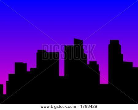 Cityscape Silhouette Nightfall