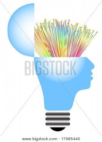 lightbulb with human head