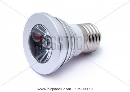 Multi color LED light bulb isolated on white background, LED Flashlight