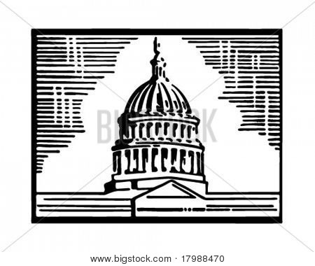 Capitol Building - Retro Ad kunst illustratie