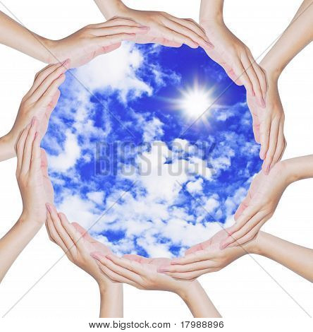Hands Forming A Circle Shape On Blue Sky