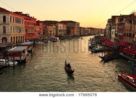 Alone Gondola At Sunset. Grand Canal In Venice
