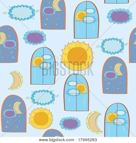 Windows seamless funny child pattern