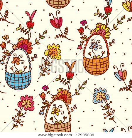 Basket floral seamless bright pattern