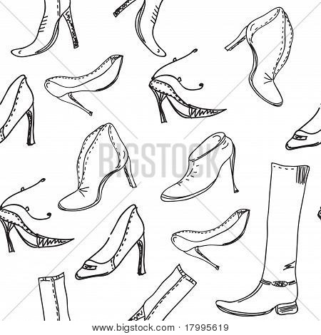 Seamless pattern with graphic shoes